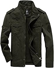 Mordenmiss Men's Windproof Military Jacket with Shoulder St