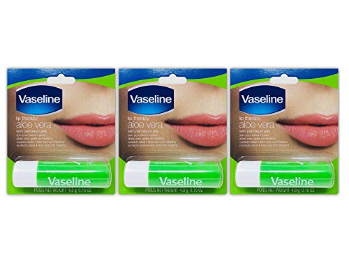 Vaseline Lip Therapy Aloe Vera | Lip Balm with Petroleum Jelly for providing your Lips with Ultimate Hydration and Essential Moisture to treat Chapped, Dry, Peeling, or Cracked Lips; 0.16 Oz (3 Pack)