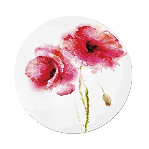 Polyester Round Tablecloth,Flower,Little Red Spring Summer Time Garden Florals Field Poppy Artwork,Hot Pink Light Pink and White,Dining Room Kitchen Picnic Table Cloth Cover,for Outdoor Indoor
