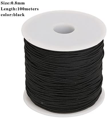 Amazon Com 100m 0 8mm Black Round Elastic Cord Beading Stretch