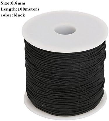 Amazon Com 100m 0 8mm Black Round Elastic Cord Beading Stretch
