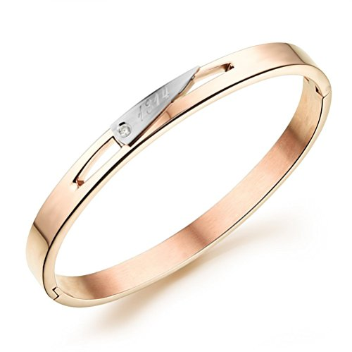 [Gorgeous Jewelry Rose Gold Plated Women Minimalism Beautiful Lover Titanium Steel Wrap Bracelet] (Chicago The Musical Costume Ideas)