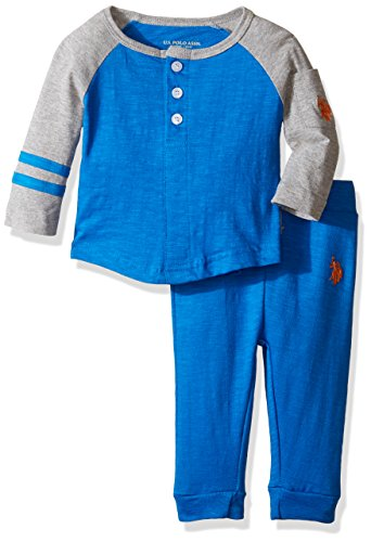 - U.S. Polo Assn. Baby Boys' Long Sleeve Slub Jersey Raglan Henley and French Terry Joggers, Blue Tile, 6-9 Months