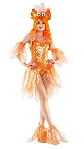 Starline Women's Deluxe Shimmering Goldfish 4 Piece Costume Set -