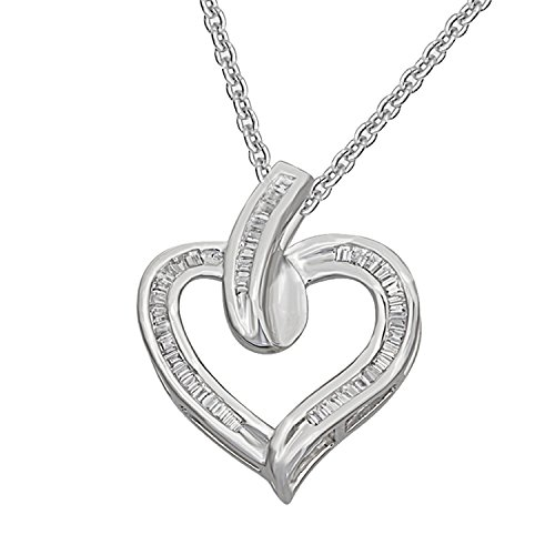 (Real Baguette Diamond Love Heart Pendant with 18