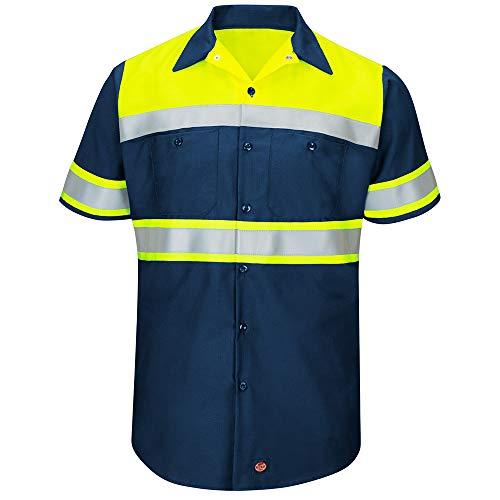 (Red Kap Men's Hi-Vis SS Colorblock Ripstop Work Shirt-Type O, Class 1, Fluorescent Yellow/Navy, 3X-Large)