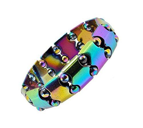Unisex Rainbow Magnetic Stretch Simulated Hematite Bracelet