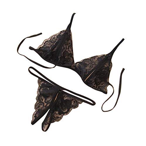 UONQD Women Lady Sexy Lingerie Lace Underwear Sleepwear G-String Lingerie (One Size,Black)