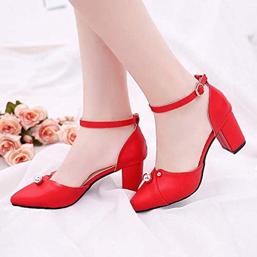 Shoes Women's ZHZNVX Red Heels PU Fall Ankle Black Polyurethane Chunky White Strap Buckle Heel Red g5gwdrq