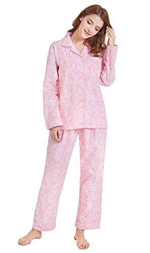 Women's 100% Cotton Pajamas, Long Sleeve Woven Pj Set Sleepwear from Tony & Candice (S=US (4-6), Pink (Pattern Cotton Sleep Pants)