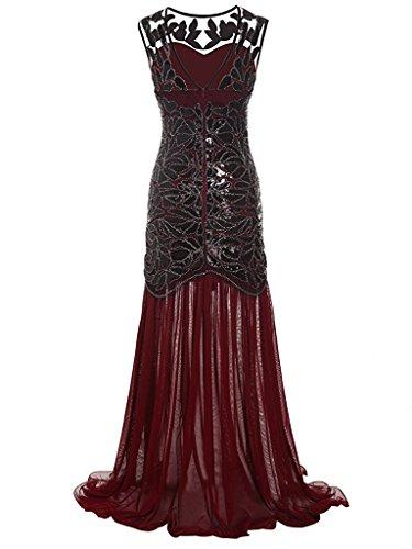 Flapper Lungo Vestito Cocktail Red Senza Anni 1920s Sera Abito Paillettes Maxi Falda 20 Dress Donna Ohlees Maniche 1EXxOqwvq