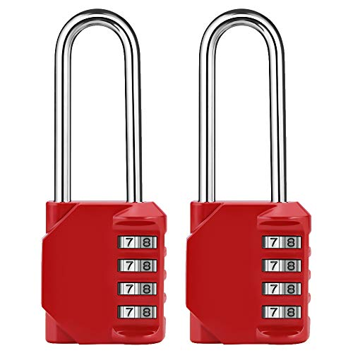 2.5 Inch Long Shackle 4 Digit Combination Lock and Outdoor Resettable Waterproof Padlock for Gym Locker, Chest, Gate, Hasp Cabinet, Toolbox (Red,Pack of 2)