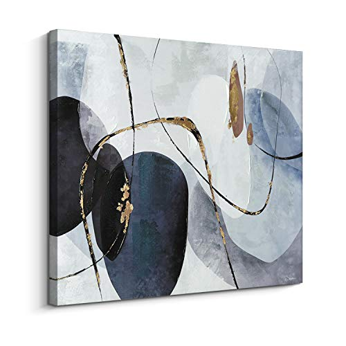 - Pi Art Orignal Design Canvas Wall Art - Abstract Black and Blue Color Palette with foil-Embellished - Hand Painted on Canvas Print Wall Decor Stretched Ready to Hang