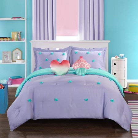 ble and Easy to Maintain Better Homes and Gardens Kids Pom Pom Comforter Set, (Lavender, Twin) ()