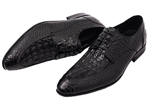 Santimon Dress Shoes for Men Alligator Crocodile Print Leather Derby Derby Lace up Casual Oxford Shoes by Shoes by Black outlet reliable vq11ih