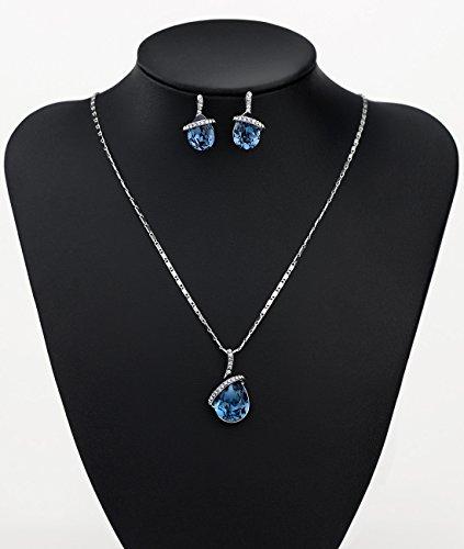 NEOGLORY Conjunto de Joya Collar Pendientes con Cristales SWAROVSKI AZUL Joya Original Regalo Mujer