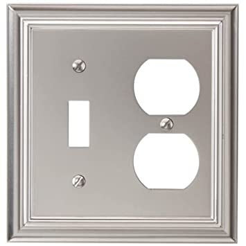 amerelle 94tdn continental cast metal wallplate with 1 toggle1 duplex outlet satin nickel
