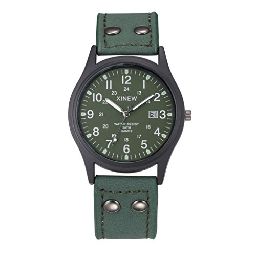 Fullfun XINEW Men's Vintage Leather Strap Watch, Waterproof (Green)