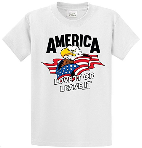 Flag Front Ash Grey T-shirt - Joe's USA - America - Love it or Leave it USA Flag Shirt- 2X-Large Tall -2XLT White