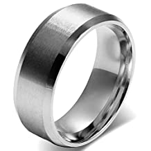 JewelryWe Men 8mm Silver Stainless Steel Brushed Wedding Ring Band Husband Father Gifts, Size 5-15