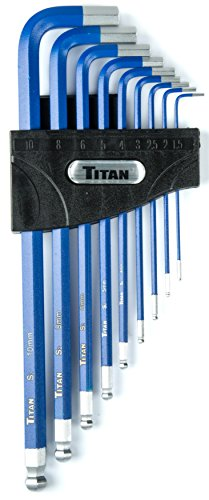 Titan Tools 12714 9-Piece Extra-Long Arm Ball Tip Metric Hex Key Set