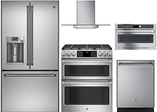 GE Cafe 5-Piece Stainless Steel Kitchen Package CFE28TSHSS 36