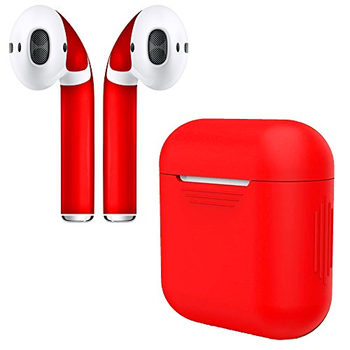APSkins Silicone Case and Stylish Skins Compatible with Apple AirPod Accessories (Red Case & Skin)