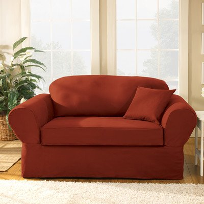 Sure Fit Twill Supreme 2 Piece Loveseat Slipcover, Merlot