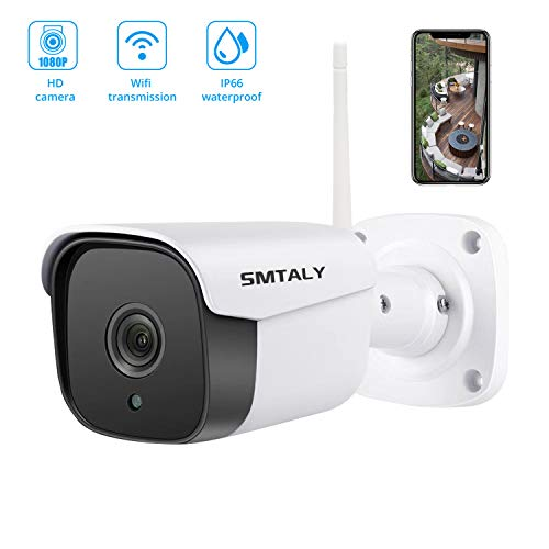 SMTALY Outdoor Wireless Security Camera 1080P,HD WiFi Surveillance Camera with 65ft Night Vision 2-Way Audio Motion Detection IP 66 Waterproof Home Security Camera