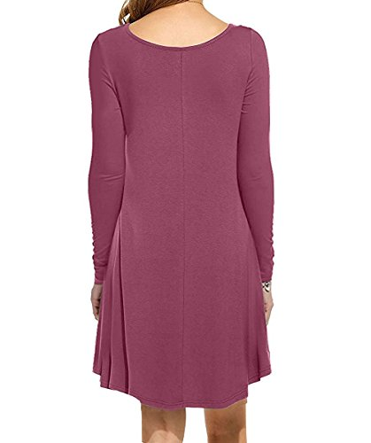 I2CRAZY Women's Long Sleeve Pockets Casual Plain T-Shirt Loose Dresses(11-Long Sleeve-Mauve,XL) by I2CRAZY (Image #2)