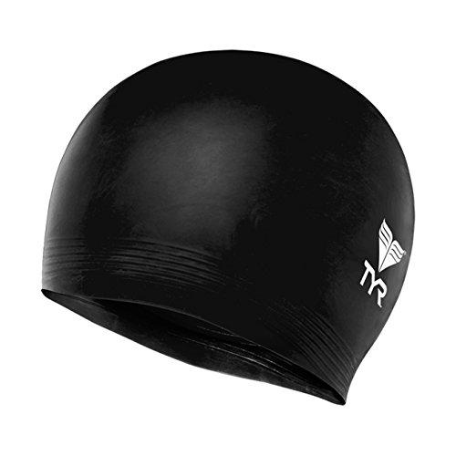 TYR Latex Swim Cap, Black - Cap Black Swim