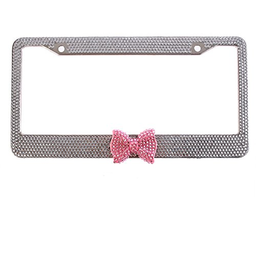 Global_Shopper Hot Clear Frame With Pink Bowtie Bling Crystal License Plate Frame Cute Rhinestone Car/Truck/SUV License Plate Holder For Woman,Lady,Girl (1 Frame) ()