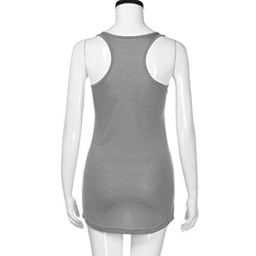 Pour Squelette T de ELECTRI Shirt Fte Sans Dbardeurs Gilet Manches D't Femmes Blouse Casual Skull Impression Grande Clubwear Gris Taille Tops q6TwXcx