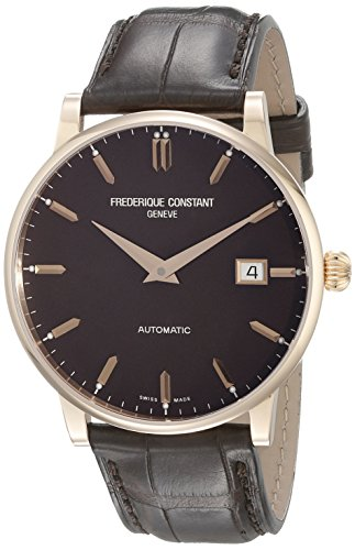Frederique Constant Men's FC316C5B9 Slim Line 18K Rose Gold Watch with Brown Band