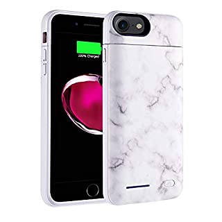 iPhone 8 Battery Case, iPhone 7, iPhone 6 Backup Charging Case White Marble Design - 3500mAh Ultra Slim Extended Battery Charger Pack Power Bank - White