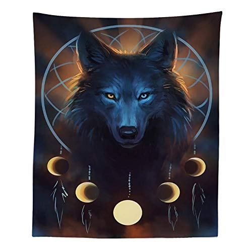 Boyouth Tapestry Wall Hanging,Watercolor Wolf and Moon Picture Digital Print Wall Tapestry Home Decor for Living Room Bedroom Dorm,59.1 Inches by 51.2 Inches ()