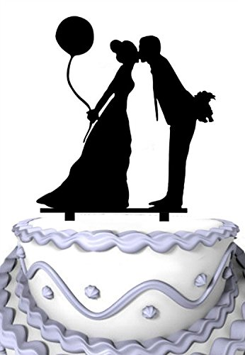 Kissing Bride Groom - Meijiafei Kissing Bride and Groom Hold Balloon Party Cake Decoration