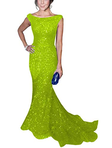 SOLOVEDRESS Women's Mermaid Sequined Formal Evening Dress for Wedding Prom Gown (US 16 Plus,Lime Green)