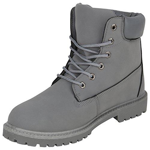 Stiefelparadies Herren Worker Boots Profilsohle Flandell Grau Cabanas