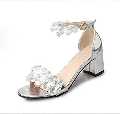La Sra sandalias de tacón alto con pedrería palabra sandalias de las mujeres cabeza de los pescados gruesos zapatos abiertos salvajes en Roma Silver