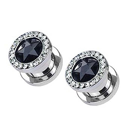 body jewelry Black Rhinestone Star Screw On Tunnel Ear Plug (9.5 mm, 00 Gauge) - 2 Piece