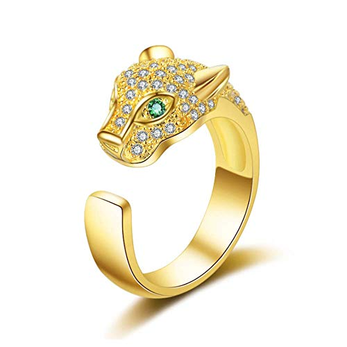 TULIP LY Leopard Head Ring Adjustable White Gold Ring with Cubic Zirconia Inlay Uniquely Stylish Ring for Women (Gold-Plated-Brass)