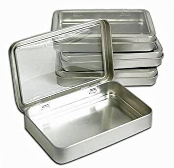 Clear Top Metal Tin Box 7oz Plain Silver Hinged Blank Storage Case, Crafts,  Survival