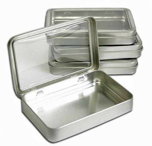 "Clear Top Metal Tin Box 7oz Plain Silver Hinged Blank Storage Case, Crafts, Survival Kit Tins 5.5""x3.7"" (4X)"