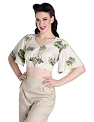 Hell Bunny Safari Blouse Cropped Top