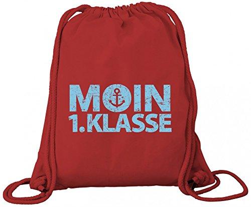 Einschulungsgeschenk Erstklässler Schulkind Premium Bio Baumwoll Turnbeutel Rucksack Stanley Stella Junge - Moin 1. Klasse Red QxxpmzUBQ