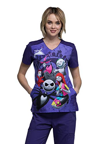 Tooniforms by Cherokee Women's V-Neck Nightmare Before Christmas R.I.P. Print Scrub Top Large