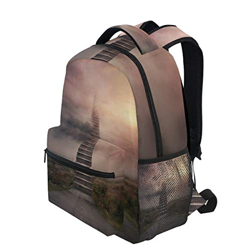 KVMV Ladder Going Up to Sky Foggy Air Enchanted Philosophical Scenery Lightweight School Backpack Students College Bag Travel Hiking Camping Bags]()