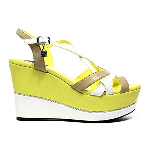 BRACCIALINI B27 zapatos de color amarillo sandalias de cuña, tacón alto, Nueva colección primavera-verano 2016 de cuero amarillo