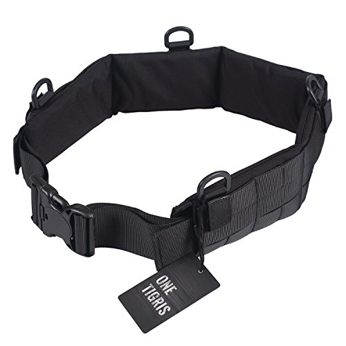 """OneTigris 1000D Nylon Patrol Belt and Pad Tactical Molle Soft Battle Belt and Pad for Armor Chassis (Black, L/37""""-43""""(95-110cm))"""